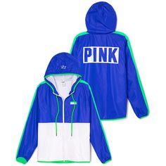 PINK Anorak Full-Zip Hoodie ($90) ❤ liked on Polyvore featuring tops, hoodies, jackets, fleece lined hoodie, fleece lined hooded sweatshirt, fleece lined hoodies, blue hoodies and graphic hoodies
