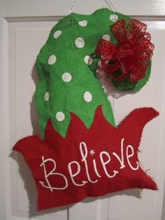 Christmas Elf Hat Burlap Door Hanger. $35.00, via Etsy.