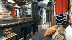 Country chic meets industrial in the smallest condo we've ever seen Condo Interior Design, Condo Design, House Design, Studio Condo, Studio Apartment Layout, Small Condo, Country Chic, Industrial Style, House Tours