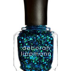 Nail polish blue glitter