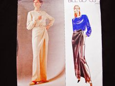Vogue Pattern Designer Bill Blass Womens Evening Pants with Wrap Draped Overlay and Loose Fitting Blouse size 10 12 UNCUT Doll Clothes Patterns, Clothing Patterns, Halloween Costume Patterns, Wrap Pants, Wedding Dress Patterns, Evening Tops, Bill Blass, Loose Fitting Tops, Vogue Patterns
