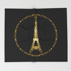 Eiffel Tower gold sparkles peace symbol Throw Blanket #PLdesign #PrayforParis #GoldSparkles #SparklesGift