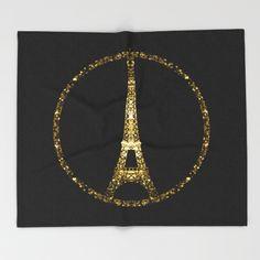 Eiffel Tower gold sparkles peace symbol Throw Blanket #PLdesign #PrayforParis #GoldSparkles #SparklesGift