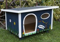 Katzenhaus personalisiert mit individuellem Namensschild - Handbemalt - Katze - Outdoor - Indoor - Individualisierung - Katzenhütte - Katzenvilla - Schlafplatz