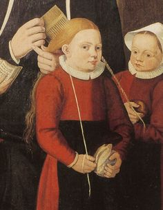 Detail from Hilleke-de-roy and Four of Her Orphans, Unknown artist, 1586. Child in the process of having her hair dressed, holds the end of the ribbon/tape which has already been included in one braid, in preparation for braiding the second.