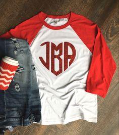 Glitter Hearts, Red Glitter, S Shirt, Tee Shirts, Tees, Mom And Grandma, Heather White, Raglan Tee, Cute Tshirts