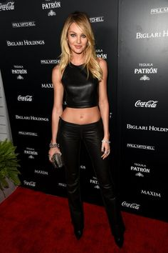 Pin for Later: This Week's Can't-Miss Celebrity Pics!  Candice Swanepoel wore an ab-baring top at Maxim's Hot 100 party in LA on Tuesday.