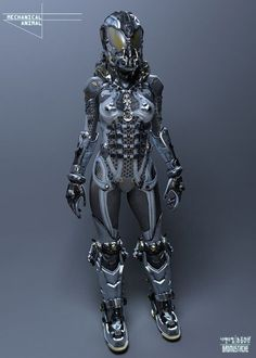 Een science fiction outfit. Veel metaal en een gesloten helm. Het dient waarschijnlijk voor in de ruimte.