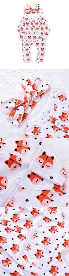 Newborn Baby Boys' Girls' Cute Fox Romper Jumpsuit Pajamas With Kangaroo Pocket +Headband (White, Tag70(0-6M))