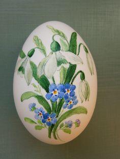"""Osterei (Gänseei) handgemalt """"Schneeglöckchen"""""""
