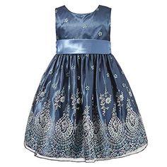 1877217b7b4 Richie House Little Girls  Elegant Dress with Silver Power Artwork  RH1368-A-3