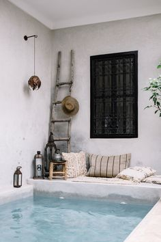 Our beautiful riad in Marrakech. dreaming of sunny skies, blue waters and comfy cushions Outdoor Pool, Outdoor Spaces, Outdoor Living, Riad Marrakech, Piscina Interior, Moroccan Interiors, Small Pools, My Pool, Beautiful Pools
