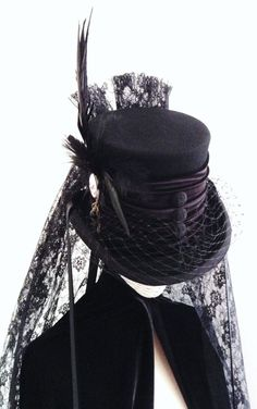 Raven Victorian Mourning hat Deaths head by Blackpin on Etsy