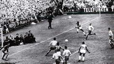 Brazil 5 Sweden 2 in 1958 in Stockholm. Vava is about to make it 2-1 to Brazil after 32 minutes in the World Cup Final.