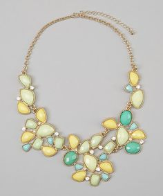 Yellow & Mint Crystal Bib Necklace