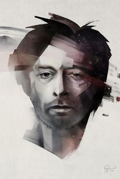 """Thom Yorke"" - Alexey Kurbatov, 2010, Moscow {contemporary artist fanciful imaginative male head illustration man portrait painting} ♥"
