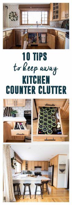 Kitchen Counter Clutter, How to Keep Away Kitchen Clutter, Clutter Free Kitchen Countertops, Clear Kitchen Countertops, Clean Kitchen Countertops www.BrightGreenDoor.com