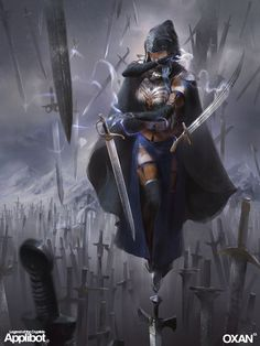 Artist: Yohann Schepacz & Li Yan aka OXAN - Title: Knight of the Thousand Swords - Card: Bladekeeper Virve