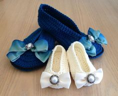 8 Mommy-and-Me #Crochet Patterns for Take Your Child To Work Day @becraftsy - crochet ballet slippers by Pattern Paradise