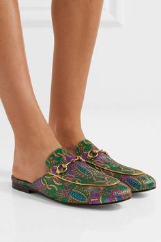 Gucci - Princetown Horsebit-detailed Metallic Jacquard Slippers - Green - IT38.5
