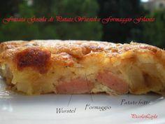 Per un pranzo perfetto romantico, andare per questa bella ricetta! - Ricetta Antipasto : Frittata golosa di patate, wurstel e formaggio filante da Piccolalayla