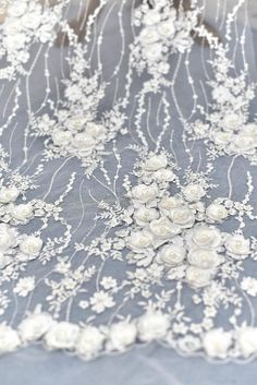 FREE SHIPPING!!! Dress-Accessories-Decorations Floral 3D Orchids On Mesh Lace Fabric By The Yard Used For ChampagneIvory