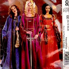 McCall's P306 Halloween Sewing Pattern Adult Costume Togas Gown Cape Size14 16 18 20