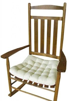 Barnett Rocking Chair Seat Cushion w/Ties - Natural Unbleached Cotton Duck (Solid Color) - Jumbo (XXL/Extra-Extra-Large) - Tufted, Reversible - Made in USA Outdoor Rocking Chair Cushions, White Rocking Chairs, Upholstered Rocking Chairs, Rocking Chair Pads, Rocking Chair Nursery, Cushions For Sale, Chairs For Sale, Seat Cushions, Ercol Furniture