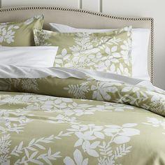 Marimekko Kukkula Green Duvet Covers and Pillow Shams | Crate and Barrel