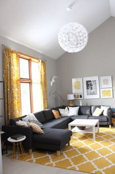 Grey and Yellow Living Room Furniture. 20 Grey and Yellow Living Room Furniture. Moody Gray Hues Accented with Bright Sunny Yellow touches Living Room Carpet, Living Room Grey, Rugs In Living Room, Home And Living, Living Room Furniture, Room Rugs, Mustard Living Rooms, Grey Room, Furniture Layout