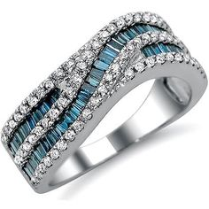 1.30 carat Blue Baguette White Round Diamond Wedding Band set in 14k White Gold. #unusualengagementrings