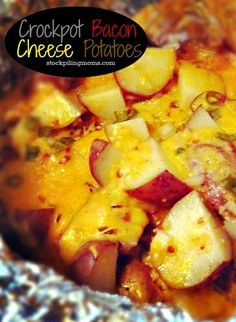 Crockpot Bacon Cheese Potatoes Recipe Easy and great for any meal and any occasion.