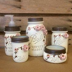 Shabby Chic Ivory and Rose Vintage Mason Jar Bathroom Set or Office Desk Organizer