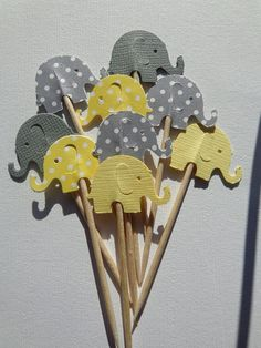 24 Grey and Yellow Elephant Cupcake Toppers - NEW Larger Size - Elephant Baby Shower Decorations - Gender Neutral Party - Gray