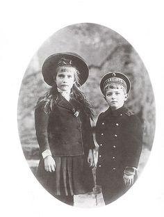 Grand Duchess Anastasia and her brother Tsarevich Alexei