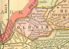 Oldham County, Kentucky 1905 Map La Grange, KY, Buckner, Pewee Valley, Westport, Anita Springs, Ballardsville, Brownsboro, Skylight, Vadens, Goshen, Huston