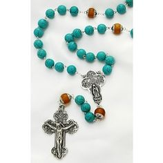 Sterling Silver Genuine Amber & Turquoise Rosary | The Catholic Company