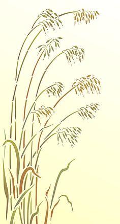 grass stencil   Above - the Oversize Wild Oat Grass Stencil on a lemon-cream ... Line Drawing, Grass Drawing, Flower Silhouette, Art Asiatique, Wild Grass, Wood Burning Patterns, Stencil Patterns, Plant Illustration, Metal Artwork