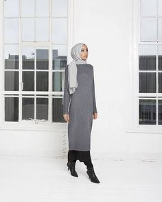 INAYAH | Charcoal High Neck #Jumper + Black Maxi Slip #Dress