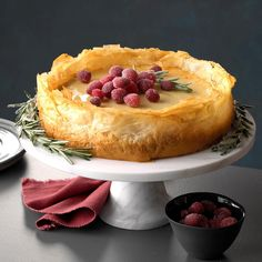 With sugared cranberries and rosemary sprigs, my unique baklava cheesecake makes a grand display for office parties and other special events. —Aryanna Gamble, New Orleans, Louisiana Cheesecake Recipes, Dessert Recipes, Cheesecake Cookies, Cream Cheese Pastry, Butter Chocolate Chip Cookies, Phyllo Dough, Mediterranean Recipes, Savoury Cake, Pie Cake