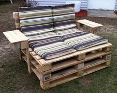 A simple wooden pallet sofa is shown in the picture which is placed in the garden and looking simple this is because its making style is not much difficult and it formatted in very simple method that any one who likes this can understand it easily and can try to make this project.