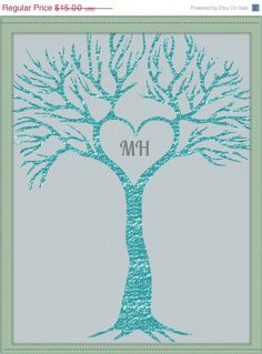 SALE Printable Foil Glitter Heart Tree by DigitalConfectionery, $7.50 for wedding gift, Valentine gift or wall art