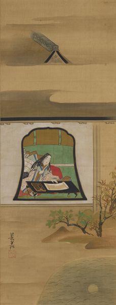 重美 紫式部図 尾形光琳 MOA 美術館蔵 江戸時代18 世紀 石山寺参籠中に紫式部が『源氏物語』の着想を得たという伝説をもとに、湖水に映る月を眺めながら執筆する姿が描かれている。画面中央に配された花頭窓、上下を二分する屋根の庇の水平線と柱の垂直線、四分円状の湖面と丸い月など、光琳の理知的な画面構成がみられる。印章の「道崇」の号は宝永元年より使用されたもので、光琳が江戸下向後に制作したことが分かる。落款は「法橋光琳」「道崇」(白文方印)。『光琳百図』所載。