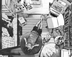 anime, room, and black and white kép Manga Art, Manga Anime, Anime Art, Sad Anime, Umibe No Onnanoko, Ahegao, Perspective Art, Aesthetic Drawing, Manga Illustration