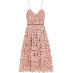 Self-Portrait Azaelea guipure lace dress ($295) ❤ liked on Polyvore featuring dresses, vestidos, pink, floral cocktail dress, holiday party dresses, pink dress, night out dresses and rose pink dress