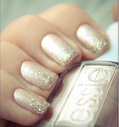 Glitter Ombre Wedding Nail Art