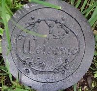 """plastic plaque mold """"welcome """" garden plaque / stepping stone"""