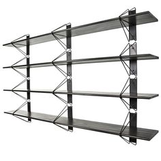 Strut Shelving System, Modern Wood Wall Shelf with Black Brackets, Bookcase