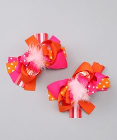 Take a look at this Orange & Pink Feather Bow Set by 2 Crystal Chicks on #zulily today!