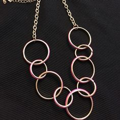 Gold and Pink Rings Necklace Gold and Pink rings necklace. Pretty! Jewelry Necklaces